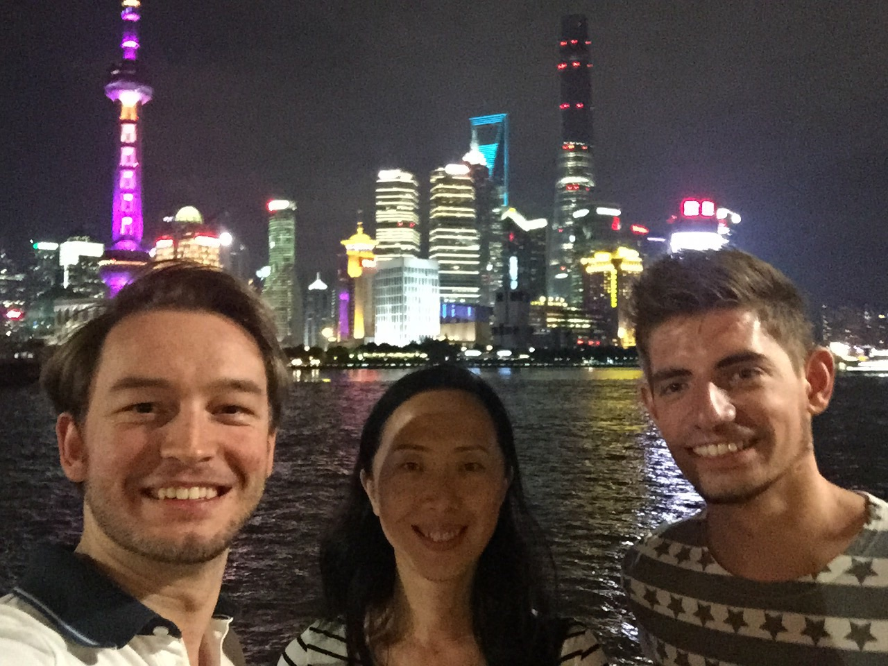 Placement Year International - interns and staff relaxing on the Bund in Shanghai, China