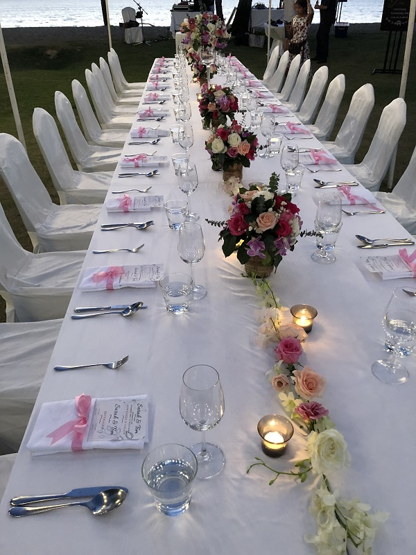 Wedding guest table arranged by Ivana during her Thailand work placement